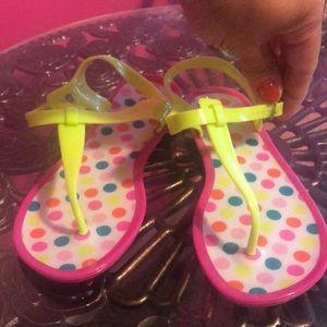 Other - Vibrant pink polka dot jelly sandals sz 2 NWOT